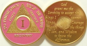 Alcoholics Anonymous Pink Gold Plated Medallion
