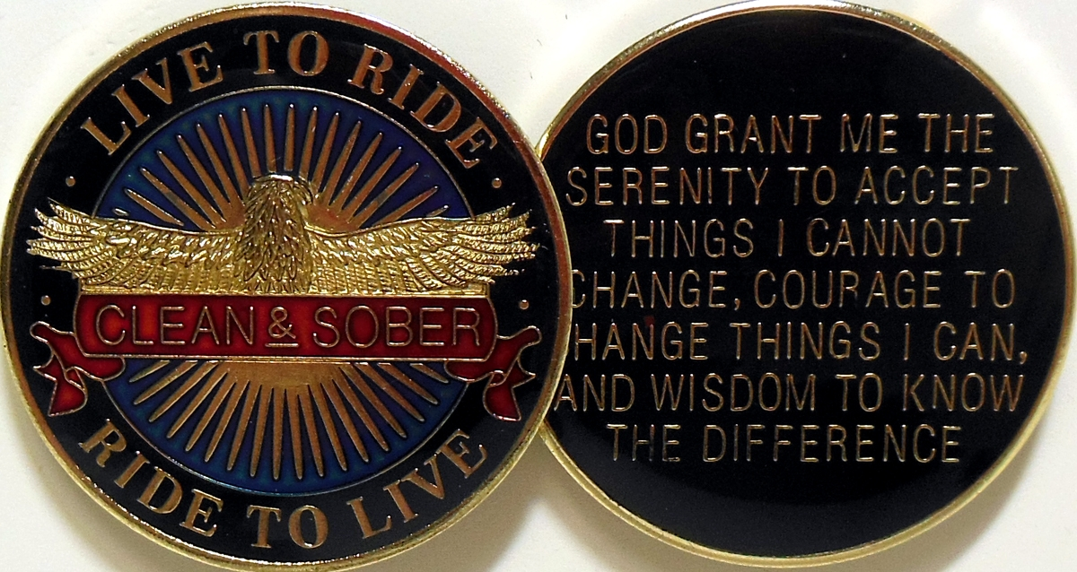Women In Recovery Rose Serenity Prayer Key Tag Chain Chip Medallion AA Bronze
