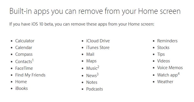 IOS 10 Liste d'applications pouvant être supprimer
