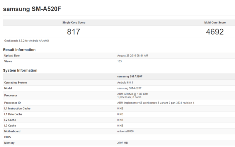 Galaxy A5 2017 GeekBench