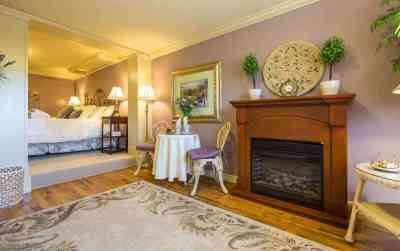 The Imperial Jacuzzi Suite Has Two Fireplaces at A Vista Villa Couples Retreat in Kelowna, BC