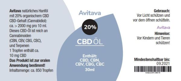 Avitava 20% CBD Öl im Vollspektrum 30 ml