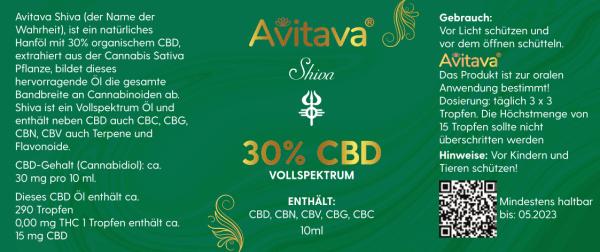 Shiva - 30% CBD Öl 3000 mg Vollspektrum in MCT mit Sprühkopf