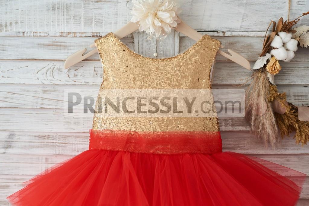 Gold Sequin Red Cupcake Tulle Deep V Back Wedding Flower