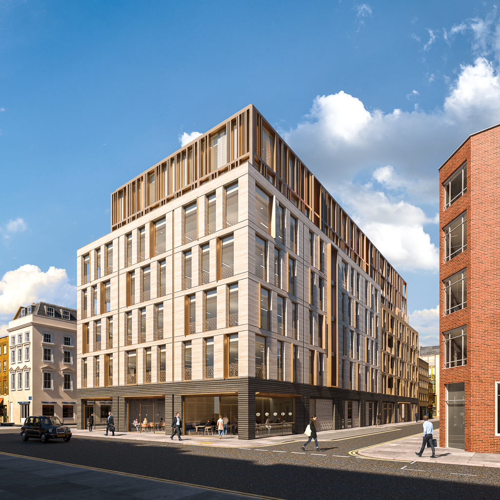Architectural Visualisation (Full CGI) of an office building in Charlotte Street, London