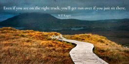 Even if you are on the right track, you'll get run over if you just sit there. -Will Rogers - Quotes by A. V. Laudon