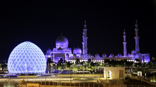 Shk Zayed Grand Mosque Domes wide night