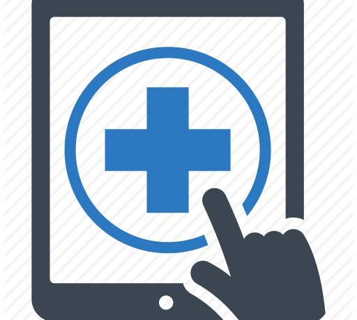 Medical help icon on a touch screen about to be touched