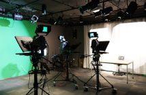 studio with AV video equipment and green screen
