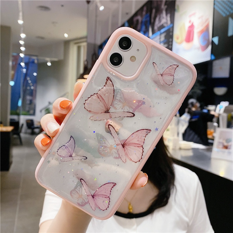 Clear Glitter Butterfly Soft Shockproof Phone Case for iPhone