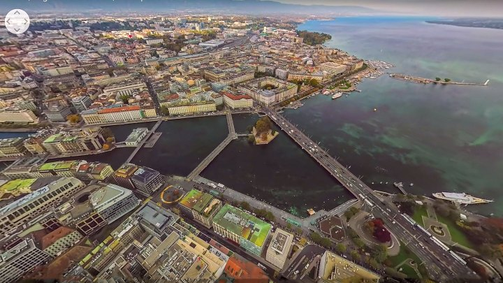 Beautiful 360-degree virtual reality aerial over the city and lake Geneva.