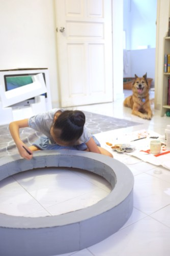 Aina helped, with Koda's supervision