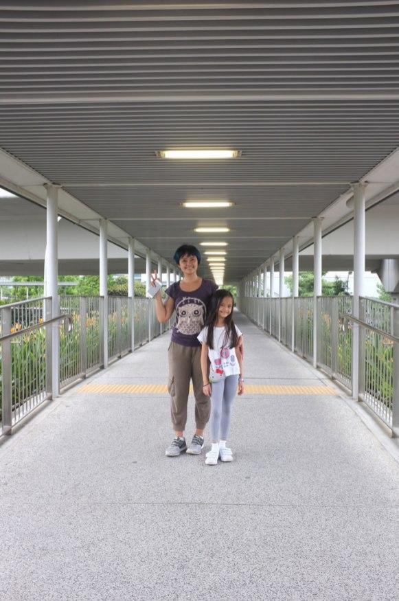 at the pedestrian bridge