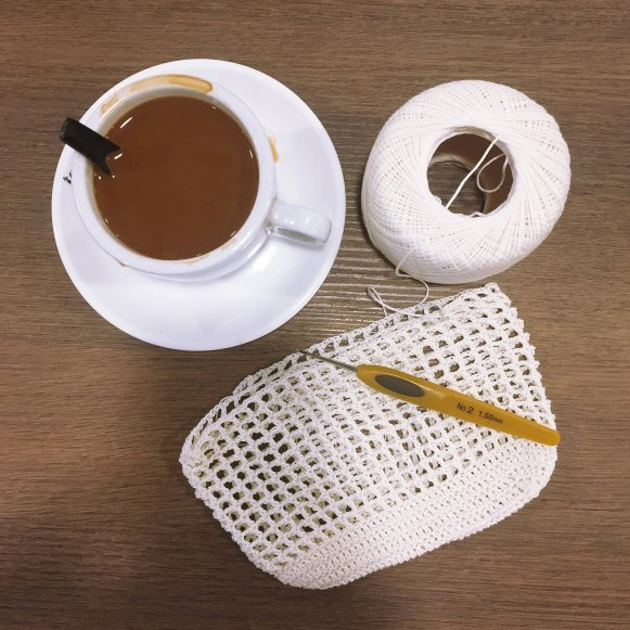 crocheting with coffee