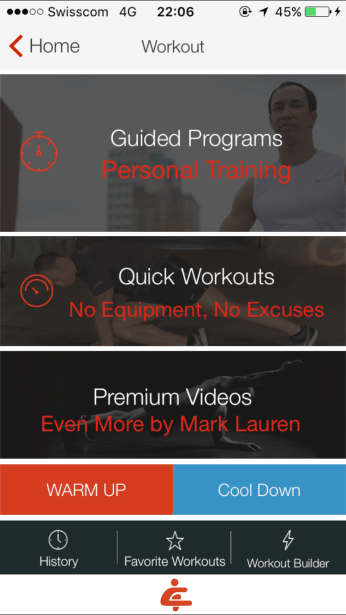 Options for workouts