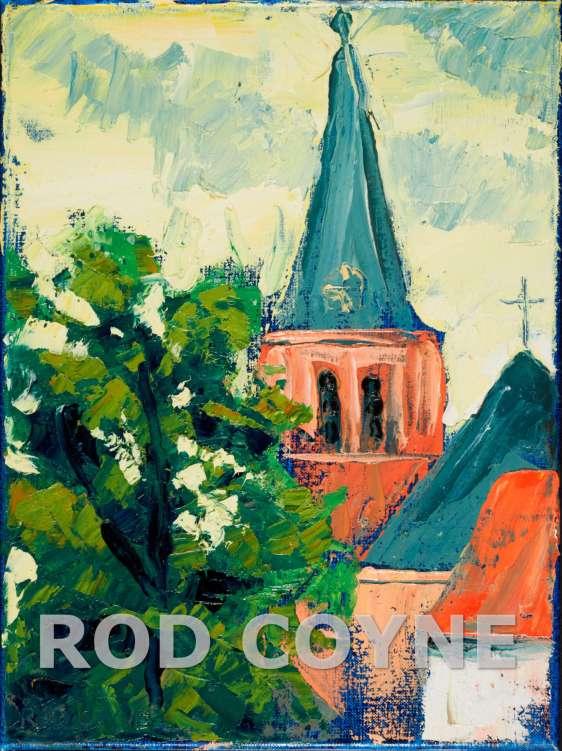 Rod Coyne's painting of Mondrian church Domburg.