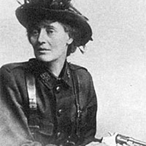 Countess Markievicz poised with pistol.