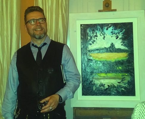 "Proud artist Rod Coyne with his ""Sun Field""."