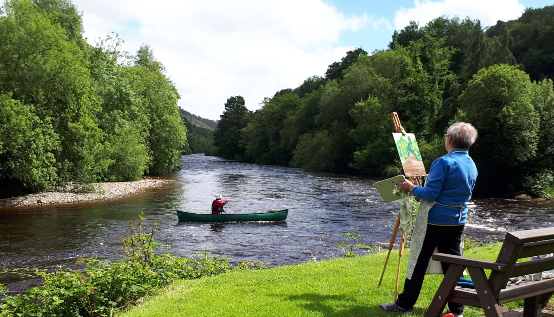 Artist painting the view down the Avoca River. Rod Coyne's August 2018 Painting Workshop promises quality time channeling poet laureate Thomas Moore down by the Meetings of the Waters.