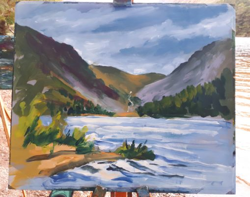 For every workshop Rod Coyne starts the day with a painting demo. Here you see his latest work presented in front of the Upper Lake, Glendalough.