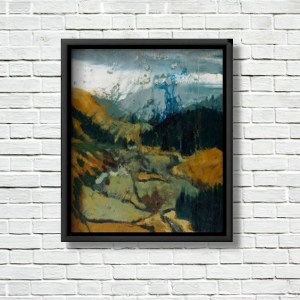 """Pilgrims Way, Wicklow Gap"" canvas print displayed in a black frame on a white brick wall."