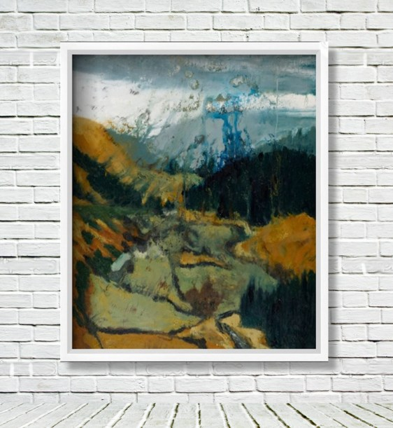 """"""" Pilgrims Way, Wicklow Gap """" displayed in a white frame on a white brick wall."""