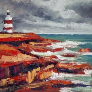 "Featured in SEEING RED, ""Hooked on Red"" was painted at Hookhead Lighthouse."