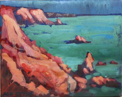 "Image of Rod Coyne's painting ""Copper Red Coast"", 20x25cm, acrylic on canvas."