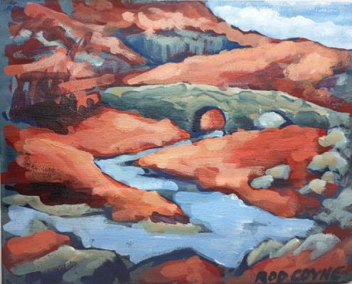"Image of ""Crimson County"" 20x25cm, acrylic on canvas."