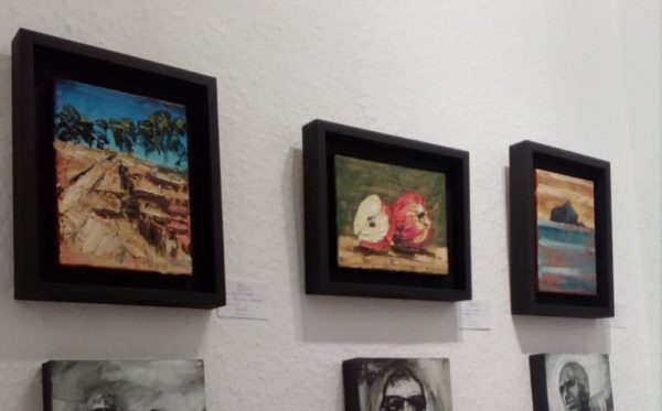 Three of Rod Coyne's paintings on display in Doorway Gallery, Dublin.