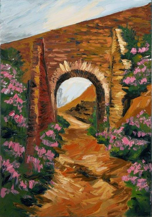 "Image of painting ""Tram Bridge, Avoca Mines"" by Rod Coyne, 70x100cm, oil on canvas, €2900."