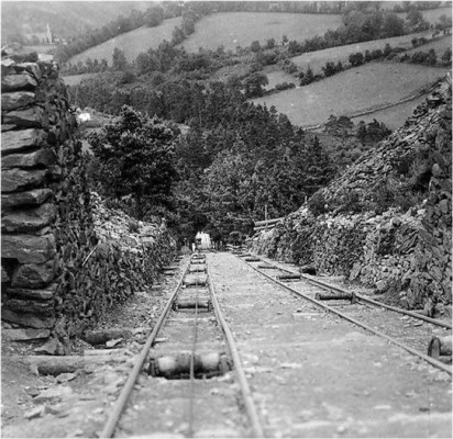 Antique photo of the tramway to from the mines to Arklow.