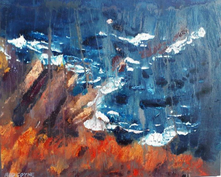 "Image of ""Cill Rialaig Dream"" by Rod Coyne, oil on canvas, which celebrates that sense of vertigo experienced of the cliff tops of County Kerry."
