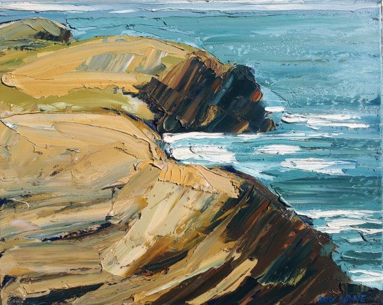 "Image of Rod Coyne's ""Heavenly Shore"" 40x50cm is a heavily painted oil on canvas and depicts the frontier between the Atlantic and South-West Kerry."