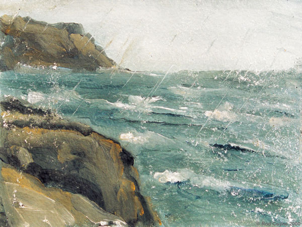image of painting depicting a arain storm moving between Dalkery Island and the mainland. This painting was highlighted by Jurgen Raap.