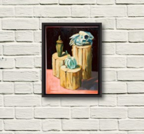 Sheep Skull Still life painting framed displayed on white brick wall