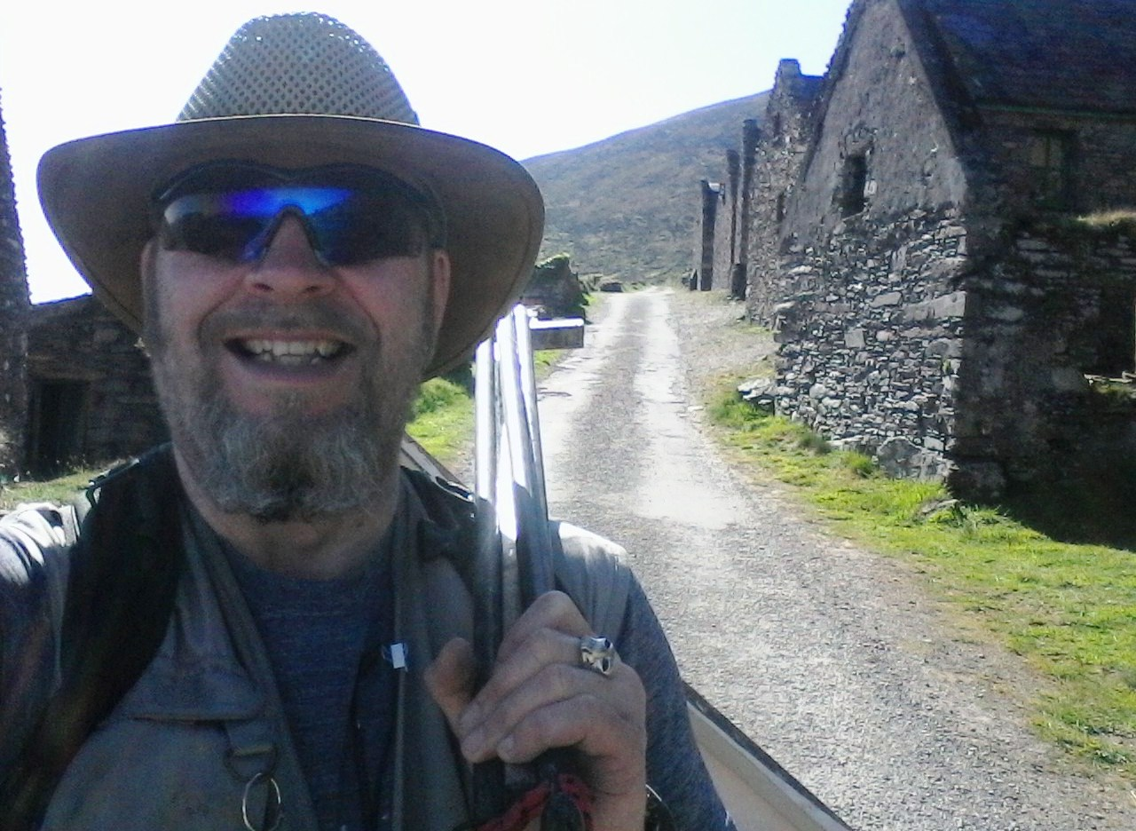 A very happy looking Rod Coyne returns to Cill Rialaig after a long day's painting.