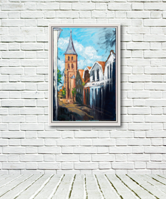 """Image of """"Domburg Mandriaan's Church"""" original canvas in white frame displayed on a rough white wall."""