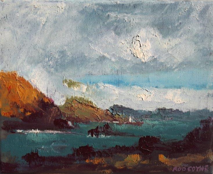 "Image of oil painting: Rod Coyne's ""Lady's Ruff Sunburst""."