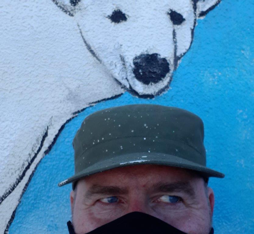 Banksy Bear and his creator Rod Coyne