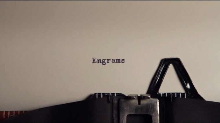 """Going Clear: Typewriter showing the word """"Engrams"""""""