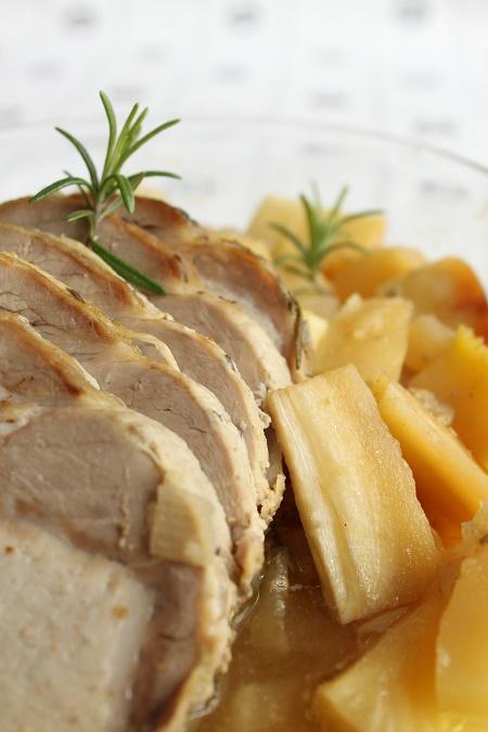 Rôti de porc, miel et romarin