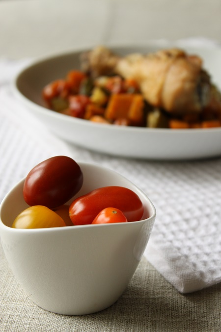 Cuisses de Poulet, courgettes et patates douces rôties