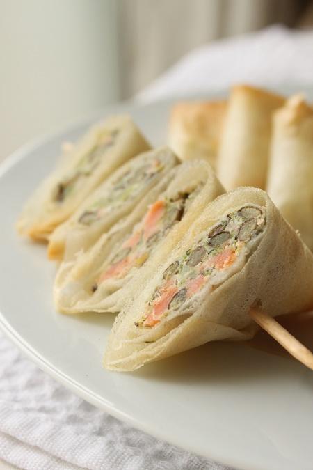 Samoussas au saumon fumé aux brocolis et lentilles