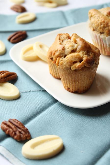 Muffins noix de pecan rhum chocolat blanc
