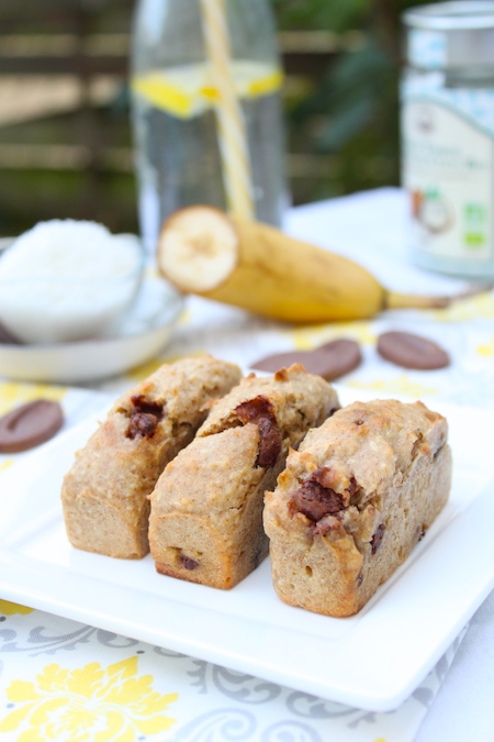 Gâteau banane noix de coco chocolat lait sans oeuf