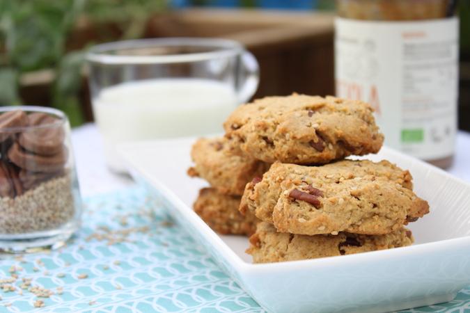 Cookies noix de pécan chocolat lait purée noisette