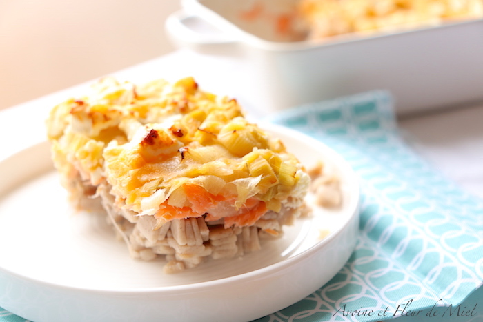 Gratin crozets saumon fumé poireaux