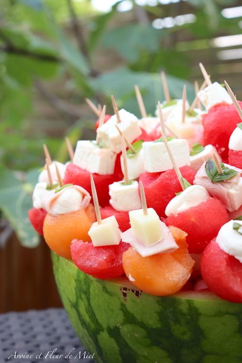 Apéro pastèque, melon et pêche