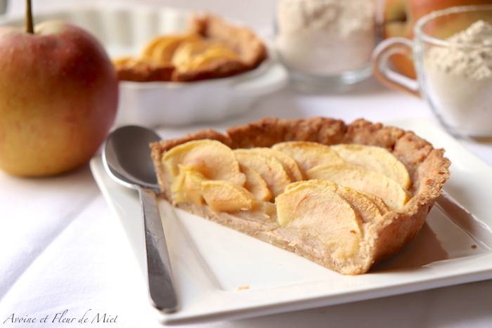 Tarte aux pommes et châtaigne (pâte sucrée épeautre et châtaigne sans oeuf)